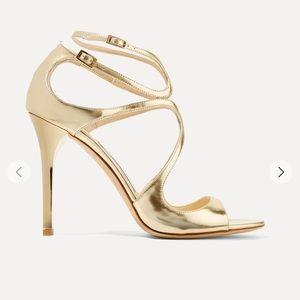 Jimmy Choo gold Lang heels